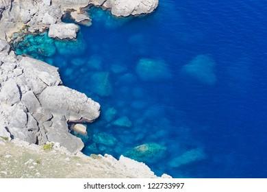 Detail of the rocks of a cliff coast in Mediterranean Sea in Spain