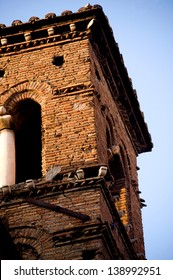 Detail of a Roman bell towers, in the Jewish Quarter
