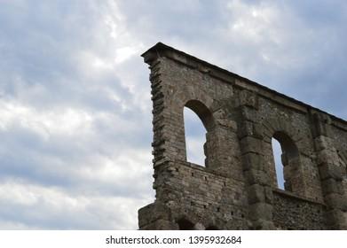 Detail of roman theatre in Aosta (Aosta Valley, Italy)