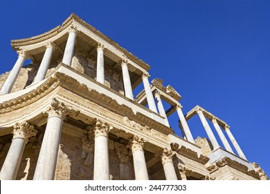Detail of a Roman theatre, was seen in Merida (Extremadura, Spain). Most interesting are the white marble columns and the Corinthian capitals