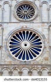 Detail of the Romanesque facade of the Cathedral building in Zadar, Croatia