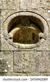 Detail of Romanesque monastery of Paco de Sousa in Penafiel, Portugal