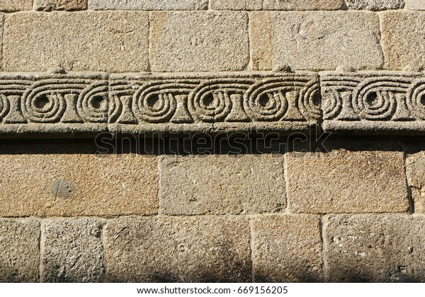 Detail of romanesque monastery of Paco de Sousa in Penafiel, north of Portugal