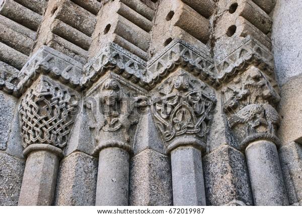 Detail of romanesque monastery of Sao Pedro de Ferreira in Pacos de Ferreira, north of Portugal
