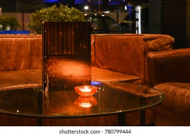 Detail in a romantic restaurant, table and chair