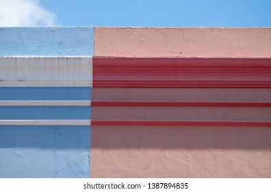 Detail of roof of house in the Malay Quarter, Bo-Kaap, Cape Town, South Africa. Historical area of brightly painted houses in the city centre, housing largely Muslim families.