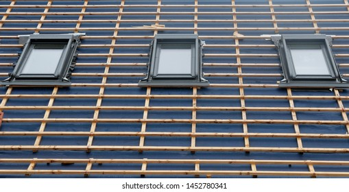 Detail of a roof on a construction site