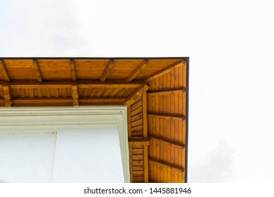 detail of roof wood fascia with copy space