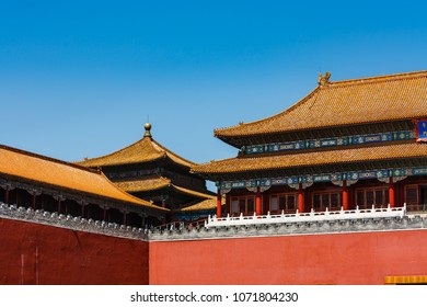 Detail of roofs and mosaic walls of Forbidden City, Beijing, China on a sunny day