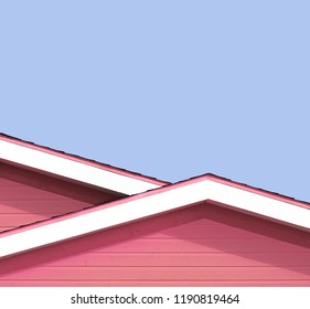 Detail of the rooftops of the typical wooden houses of Iles de la Madeleine, or the Magdalen Islands, in Canada. Minimalistic style in bright colours with space for text.
