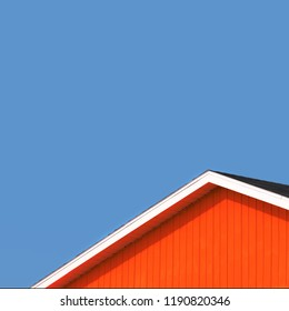 Detail of the rooftops of the typical wooden houses of Iles de la Madeleine, or the Magdalen Islands, in Canada. Minimalistic style in complimentary colours with space for text.