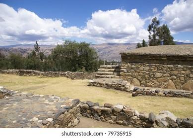 Detail of rough Inca stonework, Willcawain ruins,Huaraz, Peru, South America