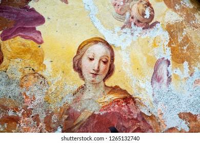 Detail of ruined old fresco, horizontal image