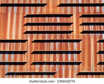 Detail of the rusty wall of the Euskalduna palace, Bilbao, Bizkaia (Spain). Arquitecture