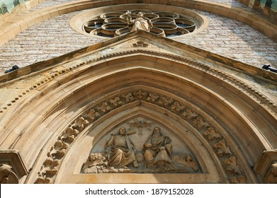 Detail of the Sacred Heart Cathedral (Katedrala Srca Isusova), a Catholic church in Sarajevo commonly referred as the Sarajevo Cathedral.  - Shutterstock ID 1879152028