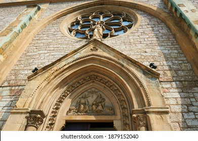 Detail of the Sacred Heart Cathedral (Katedrala Srca Isusova), a Catholic church in Sarajevo commonly referred as the Sarajevo Cathedral.  - Shutterstock ID 1879152040