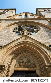 Detail of the Sacred Heart Cathedral (Katedrala Srca Isusova), a Catholic church in Sarajevo commonly referred as the Sarajevo Cathedral.  - Shutterstock ID 1879152043