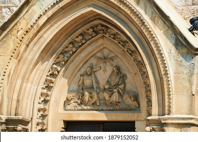 Detail of the Sacred Heart Cathedral (Katedrala Srca Isusova), a Catholic church in Sarajevo commonly referred as the Sarajevo Cathedral.  - Shutterstock ID 1879152052