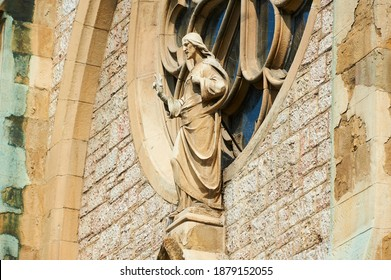 Detail of the Sacred Heart Cathedral (Katedrala Srca Isusova), a Catholic church in Sarajevo commonly referred as the Sarajevo Cathedral.  - Shutterstock ID 1879152055
