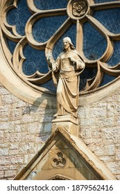 Detail of the Sacred Heart Cathedral (Katedrala Srca Isusova), a Catholic church in Sarajevo commonly referred as the Sarajevo Cathedral.  - Shutterstock ID 1879562416