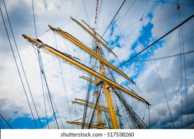 Detail of a sailboat rigging.  Mast on traditional sailboats. Mast of large wooden ship.