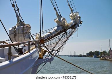 Detail of a sailing ship.
