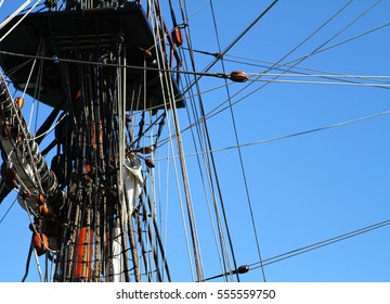 Detail of a sailing ships mast and rigging