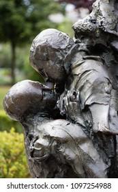 A detail of the Saint Julien le pauvre (Saint Julien the Poor) fountain in Paris, France