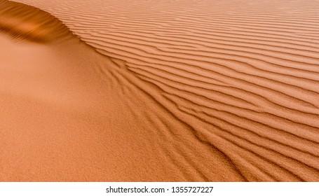 Detail of sand dune in Sarah desert, Morocco.
