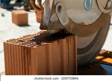 Detail of Saw for cutting bricks in construction site