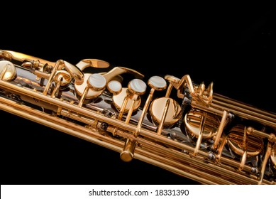 Detail of saxophone keys made of nacre.