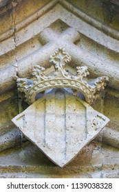 Detail Sculpture of a Crown and Coat of Arms at the Famous Valencian Gothic Llotja de la Seda or Silk Exchange in the historic center of Valencia, Spain