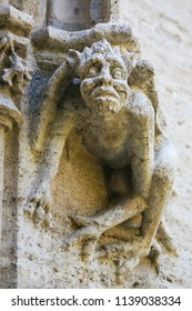 Detail Sculpture of a Devil at the Famous Valencian Gothic Llotja de la Seda or Silk Exchange in the historic center of Valencia, Spain