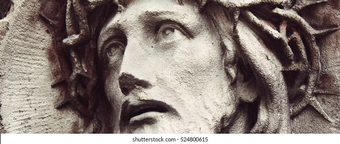 detail of sculpture of Jesus Christ