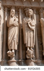 Detail of sculptures on Reims cathedral, Champagne region France