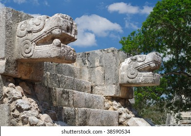 Detail of sculptures from the Temple of the Jaguars and Eagles, Chichen Itza, Mexico.