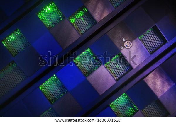 Detail of secured server front panel in server room.