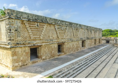detail of several buildings in the quadrangle of the nuns in the Mayan archaeological Uxmal enclosure in Yucatan, Mexico