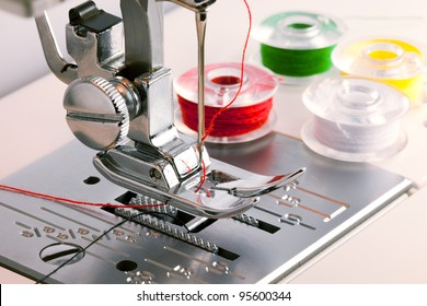 Detail of sewing machine and sewing accessories.