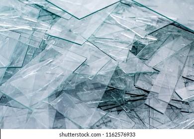 Detail of sharp broken pieces of glass