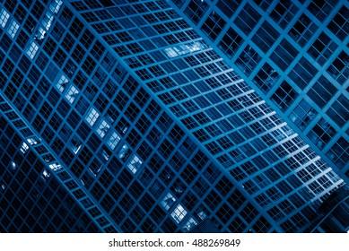 detail shoot of Modern Buildings at night.