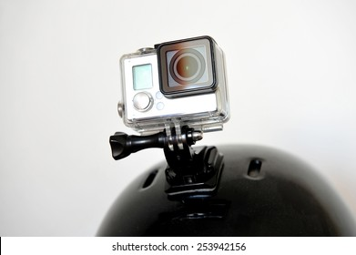 Detail shot with action camera mounted on a sports helmet