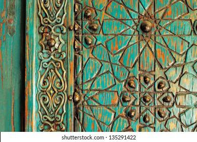 A detail shot of an ancient ottoman door