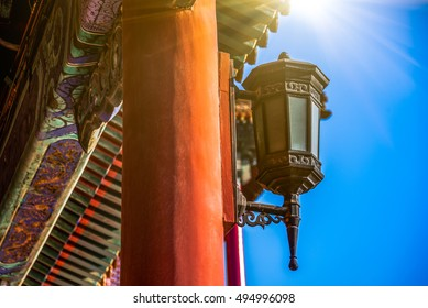 detail shot of antique lamp in the Forbidden city in Beijing,China.