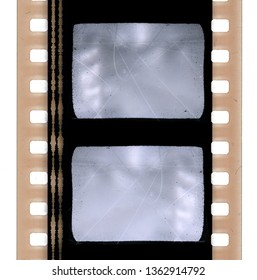 detail shot of blank film strip template, empty film 135 type (35mm) isolated on white background, real high res scan of film material with sound waves on the side