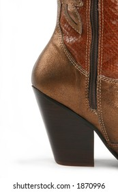 detail shot of cowgirl boot's heel
