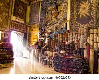 detail shot from handmade carpet and rug store in Antalya, Turkey