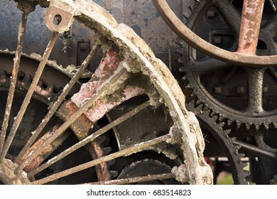 Detail shot of an old steam engine tractor in Ohio.