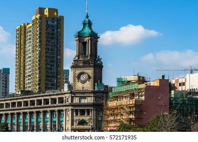 detail shot of steeple-crowned buildings in Shanghai,China.