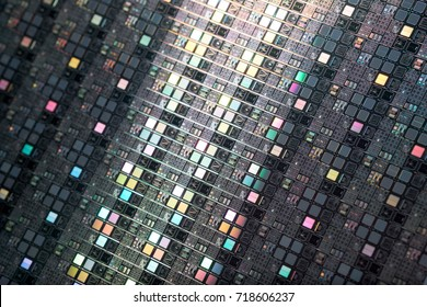 Detail of Silicon wafers. Low DOF